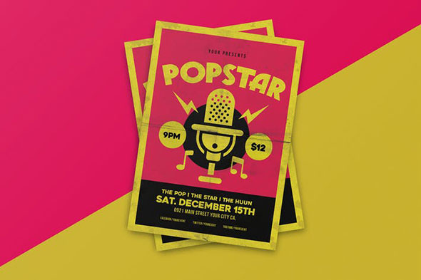Popstar music flyer