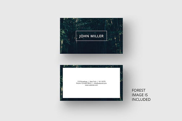 Business card with black forest background