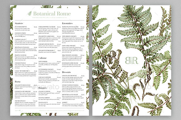 Botanical Restaurant Menu