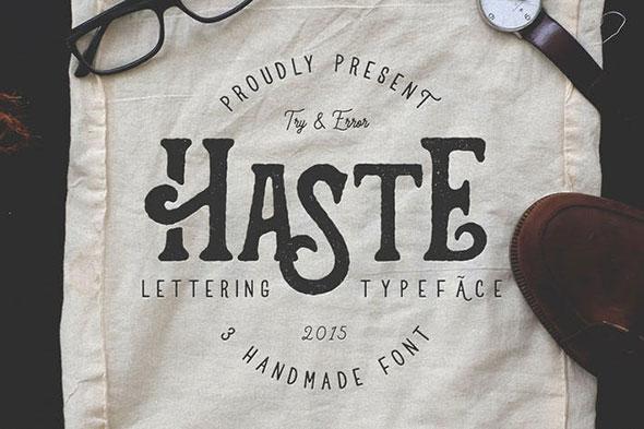 Haste - 3 Handmade Font