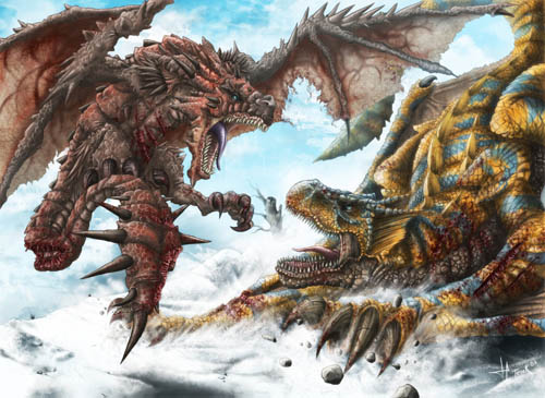 Rathalos_vs_Tigrex_by_terekjet112