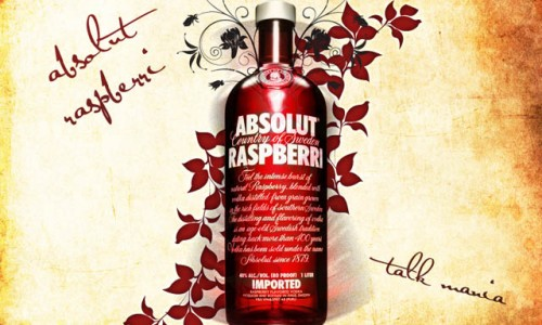 Absolut Raspberri vodka bottle wallpaper in Photoshop_30