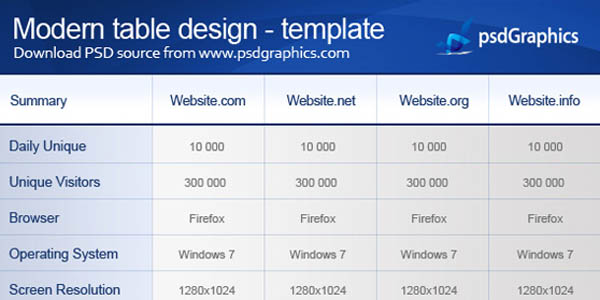 Modern table design, PSD and HTML template_8