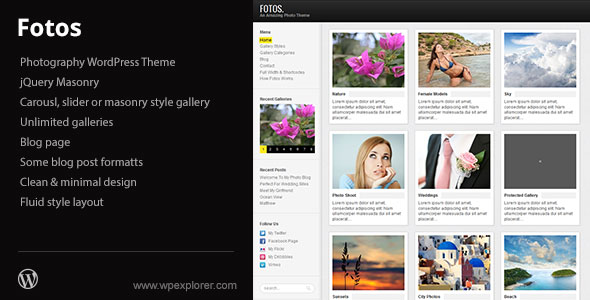 Fotos Photography & Masonry Blog WordPress Theme