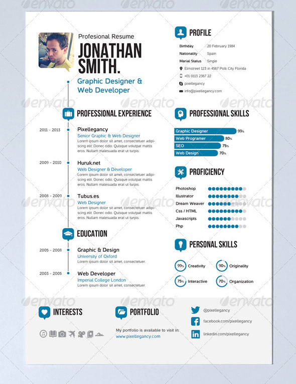 Simple Resume. A4 and US Letter