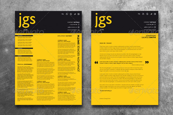 Clean Typography Resume   Cover Letter Set