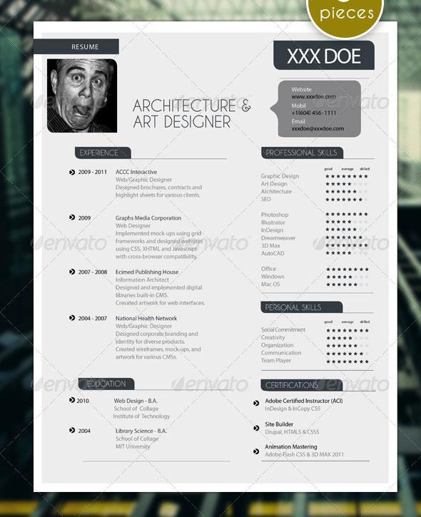5 Pieces Modern Resume Set with Portfolio