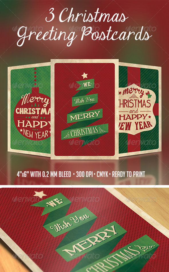 3 Christmas Greeting Postcards