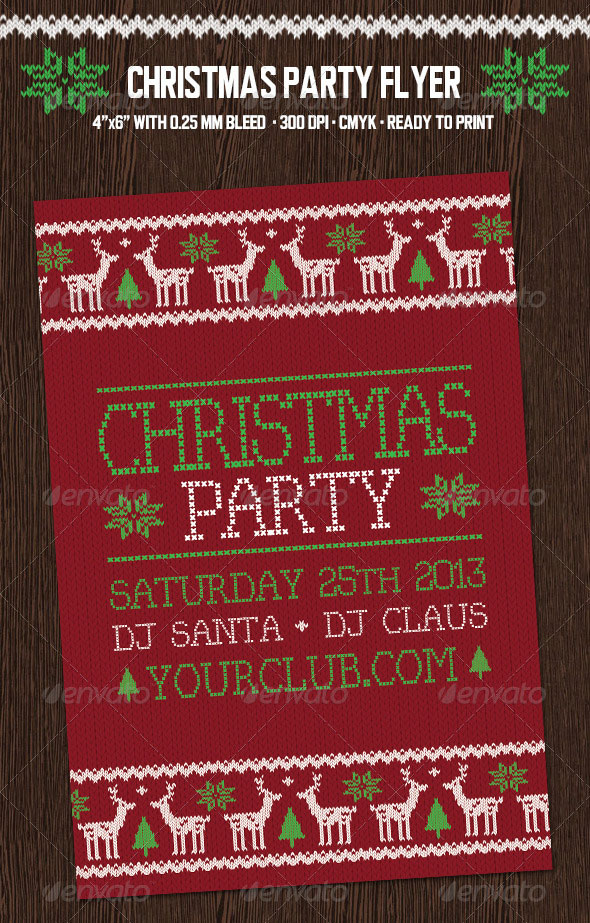 Christmas Party Flyer with Deers