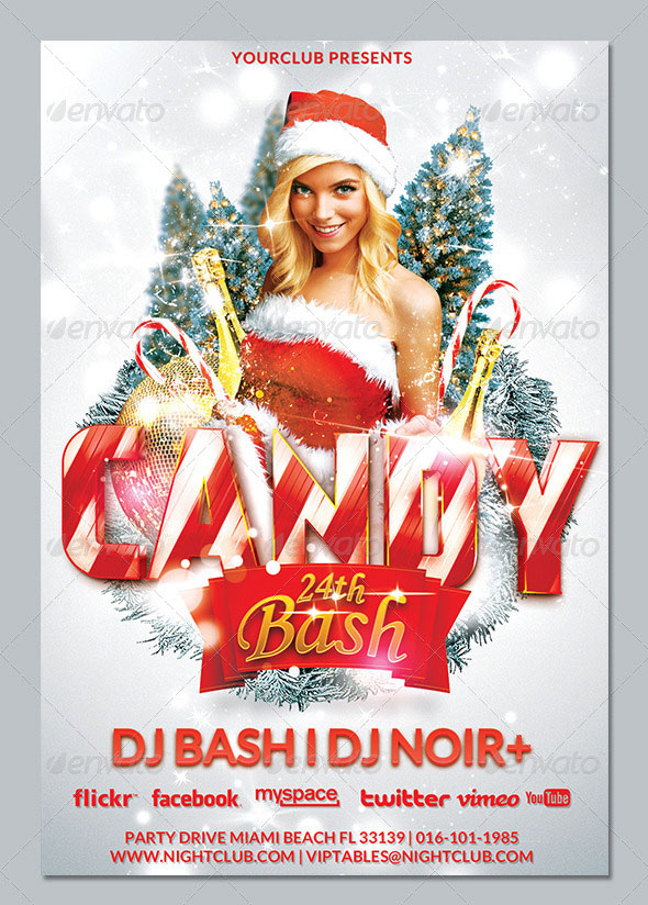 Xmas Candy Bash Christmas Flyer Template