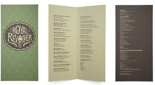 Royal Revolver Restaurant Menu design food