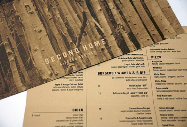 Second Home Menu Restaurant Bar Cofe Design Food