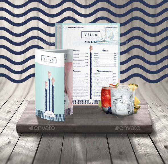 Beach Bar and Dinner or Restaurant Menu Template