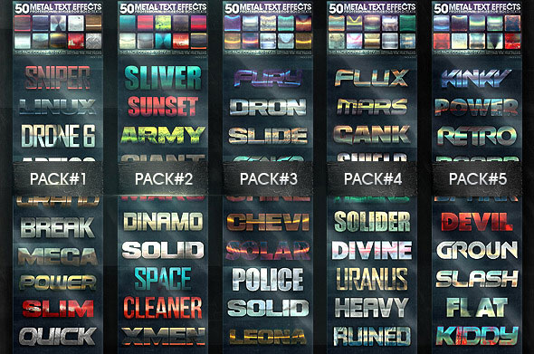 50 Metal Text Effects Bundle V3