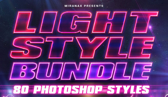 80 Lighting PSD Text Effects Bundle