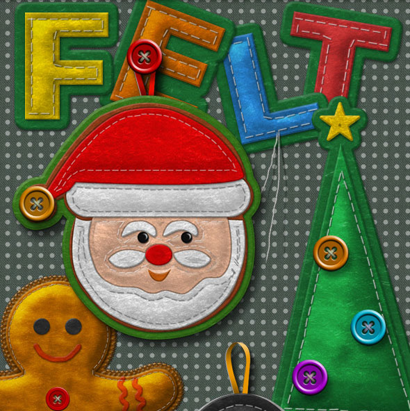 Felt Stitched Ornaments Photoshop Creation Kit