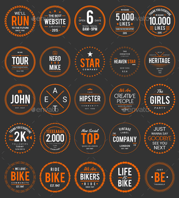 50 Circle Badges, Logos And Sticker.