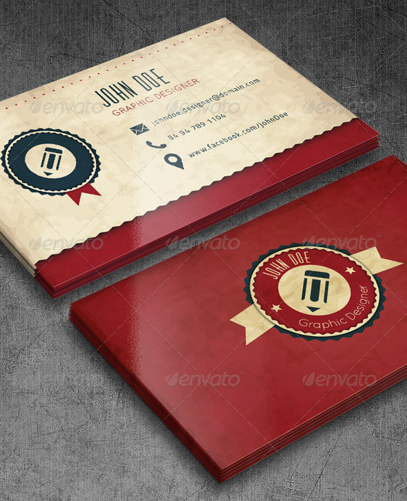 Red Retro Style Business Cards
