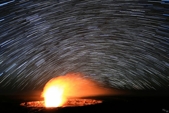 Star Trails over the Kilauea Volcano by i_divo