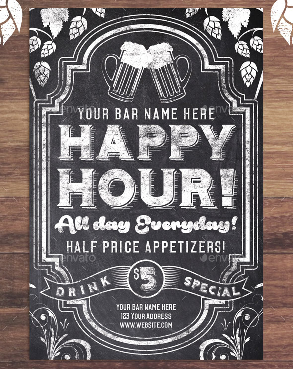 Chalk Happy Hour Flyer Invite