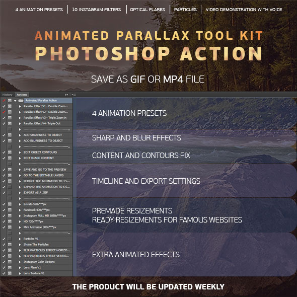 Animated Parallax Tool Kit Photoshop Action