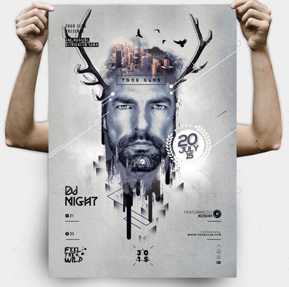 Hipster Guest Dj Template PSD Flyer/Poster