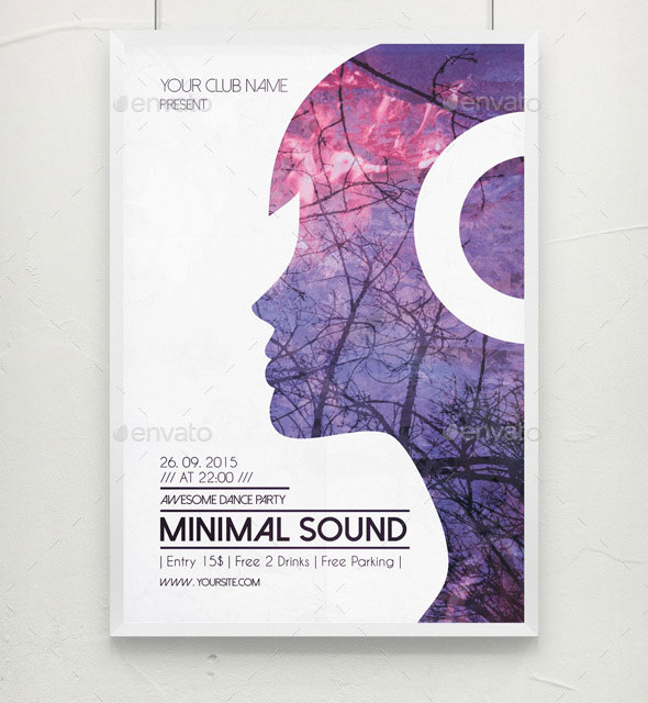Minimal Sound PSD Flyer / Poster Template