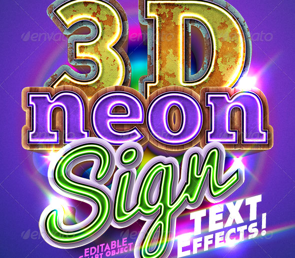 3D Neon Sign Text Effect
