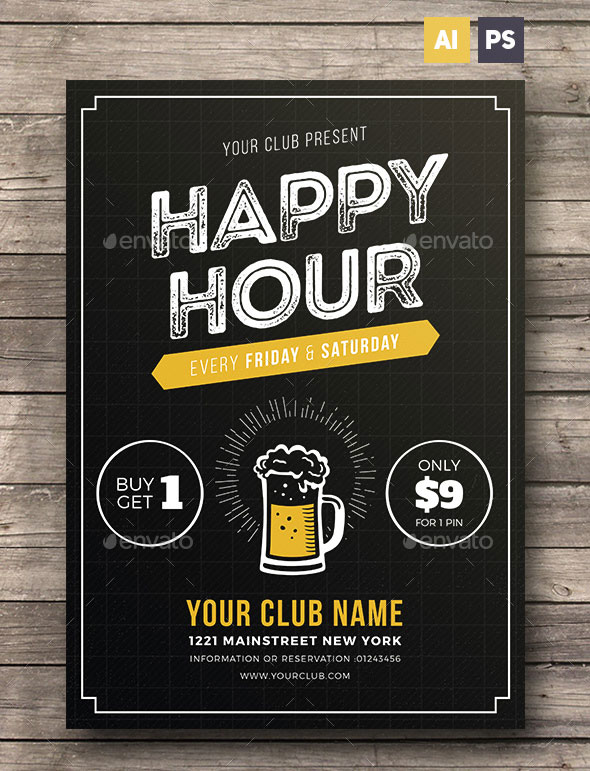 Happy Hour Beer Promotion Flyer / Poster