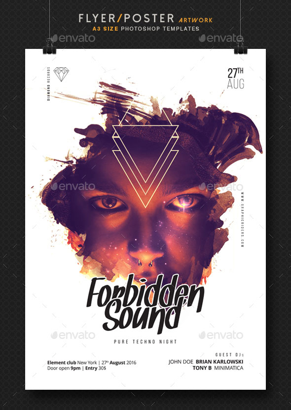 Forbidden Sound - Party Flyer Template A3