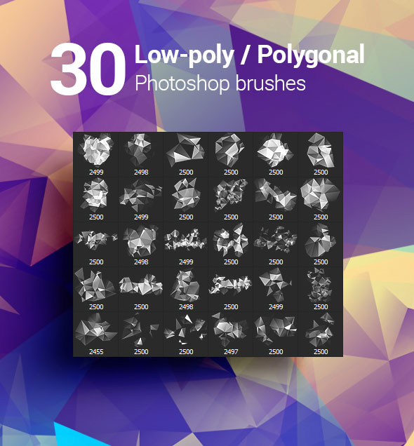 30 Low-Poly / Polygonal / Geometrical Photoshop Brushes