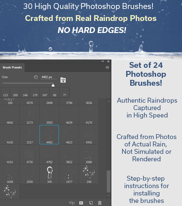 Real Raindrop Photoshop Brush Kit