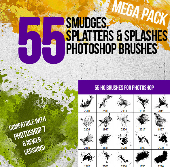 55 Splatters, Smudges & Splashes Photoshop Brushes