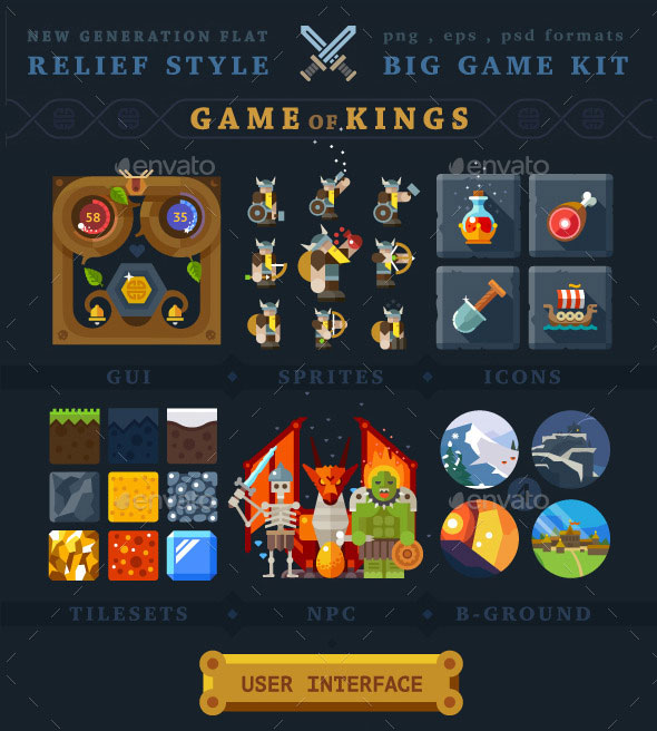 Game of Kings. Big Game Kit in Relief Flat Style