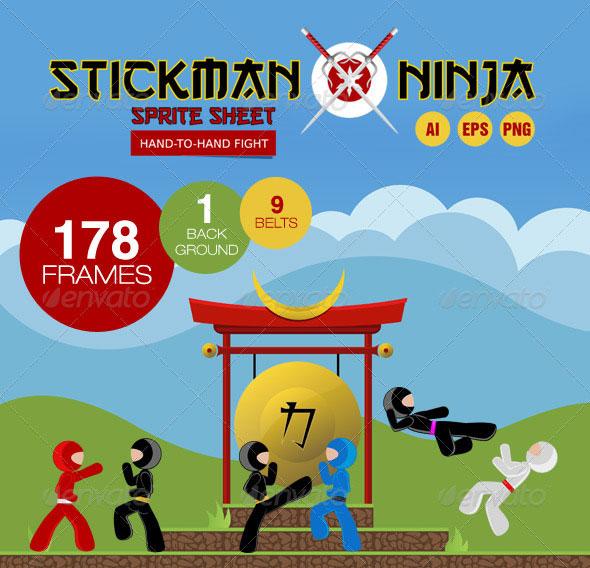 Stickman Ninja Sprite Sheet - Hand-To-Hand Fight