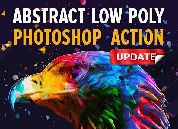 Abstract Low Poly Photoshop Action Pack