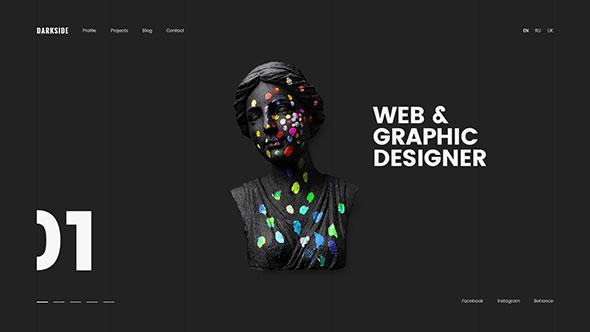 Darkside —Clean & Minimal Portfolio PSD Template