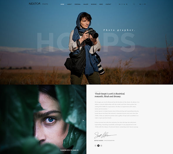 Nextop WordPress theme - Model Artist Talent Agency -  Photographer - Gallery - Creative Elegant