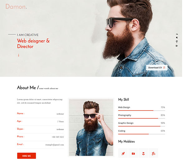 Damon - Resume, Personal, CV, vCard WordPress Theme