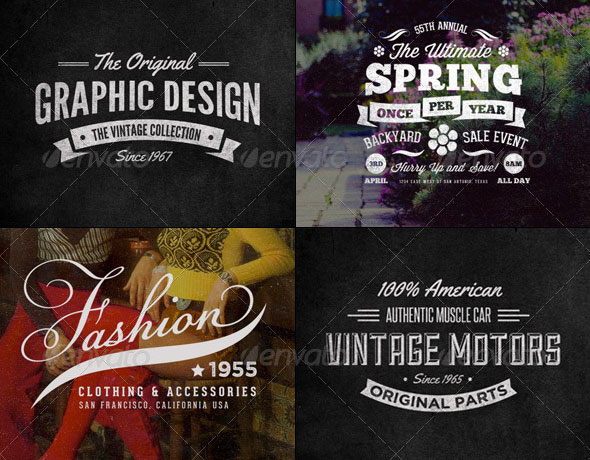 24 Vintage Labels and Logos Bundle