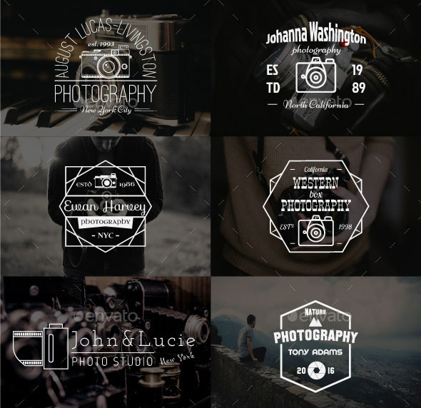 12 Vintage Photography Badges