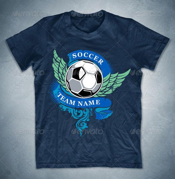 Grunge soccer T-shirt design