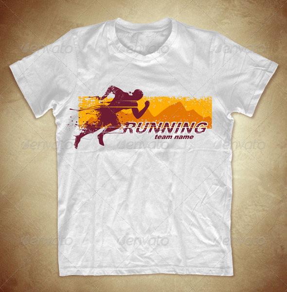 Grunge T-shirt design with running athlete