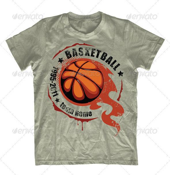 Grunge basketball T-shirt design