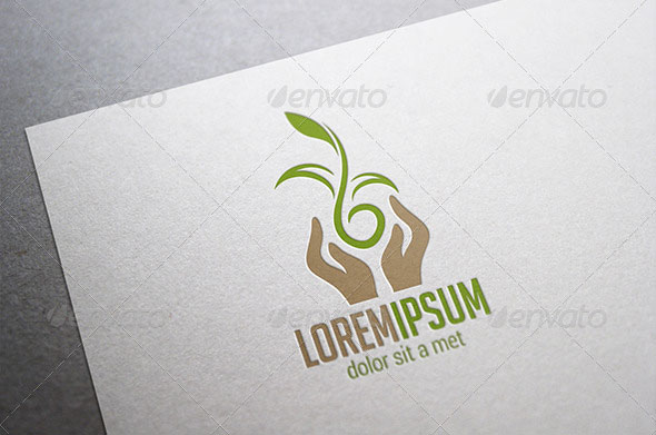 Hands Holding Plant Logo