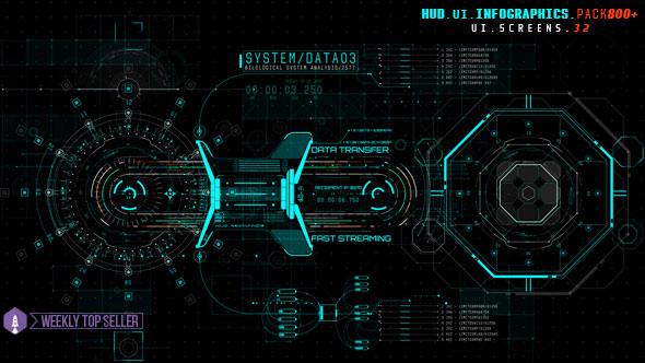 HUD UI Infographics Pack 800+
