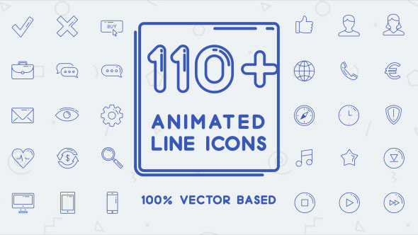 110+ Animated Line Icons Set