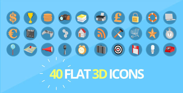 40 3D Flat looking Icons