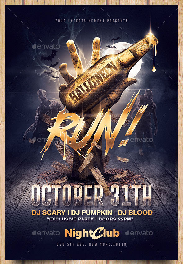 Halloween Zombie Party   Gold Flyer Template