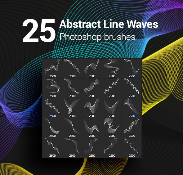 25 Abstract Line Waves Photoshop Brushes